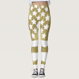 Gold Stars and Stripes USA Flag Abstract Leggings