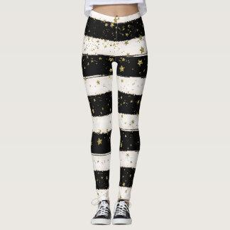 Gold Stars Black and White Stripes Leggings