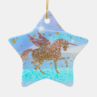 Gold Stars Glitter Flying Unicorn Purple Custom Ceramic Ornament