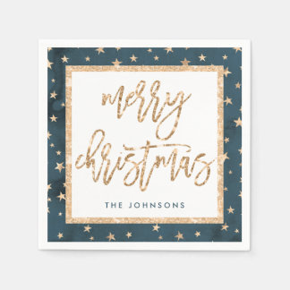 Gold Stars Merry Christmas Midnight Paper Napkins
