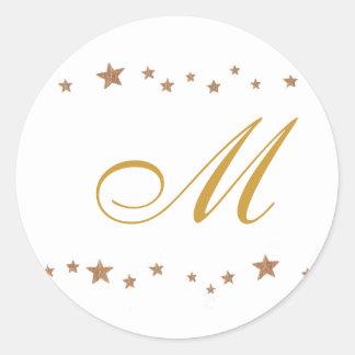 Gold Stars, Monogram Wedding Seals