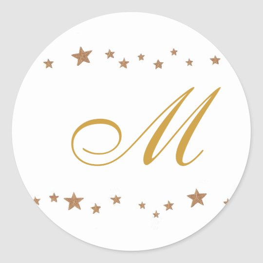 Gold Stars, Monogram Wedding Seals