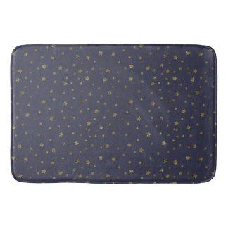 Gold Stars on Navy Blue Bath Mat