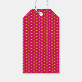 Gold Stars on Red Gift Tag