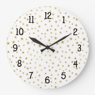 Gold Stars on White pattern, wall clock