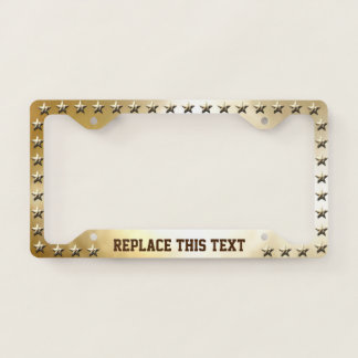 Gold Stars Pattern With Golden Background Licence Plate Frame