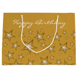 Gold Stars print Happy Birthday gold large Large Gift Bag