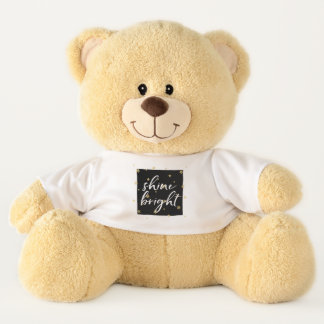 Gold Stars Shine Bright Inspirational Quote Teddy Bear