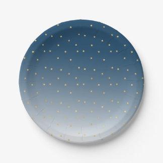 Gold Stars Sky Shine Bright Ombre Paper Plate