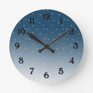 Gold Stars Sky Shine Bright Ombre Round Clock