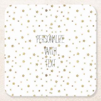 Gold Stars Square Paper Coaster