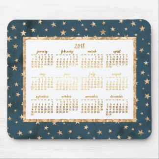 Gold Stars Yearly 2018 Calendar Mouse Pad Midnight