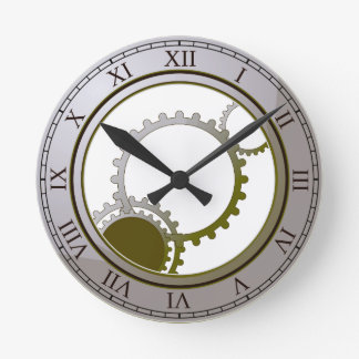 Gold steampunk wall clock