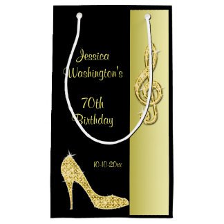 Gold Stiletto & Treble Cleft 70th Birthday Party Small Gift Bag