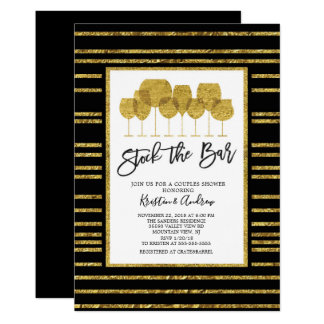 Gold Stock the bar Couples Shower Invitation