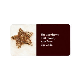 Gold Straw Star Return Address Labels