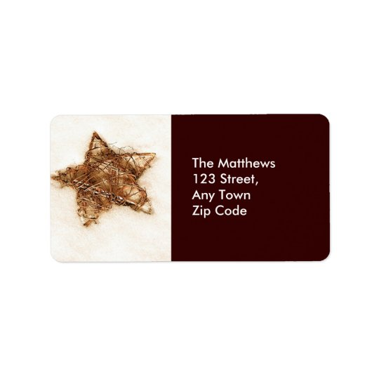 Gold Straw Star Return Address Labels