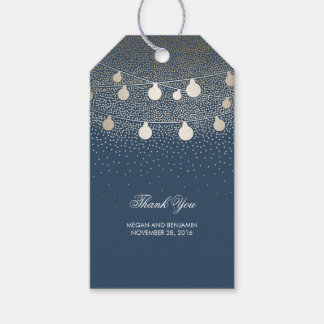 Gold String Lights Glitter Romantic Navy Wedding Gift Tags