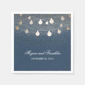 Gold String Lights Navy Wedding Paper Napkins