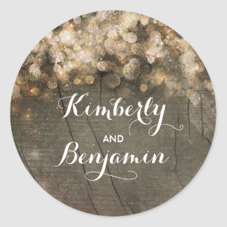 Gold String Of Lights Rustic Barn Wedding Classic Round Sticker