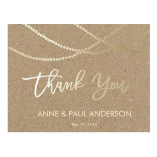 Gold string of lights Thank You Card Postcard