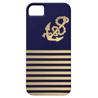 Gold stripe with gold anchor iPhone 5 case
