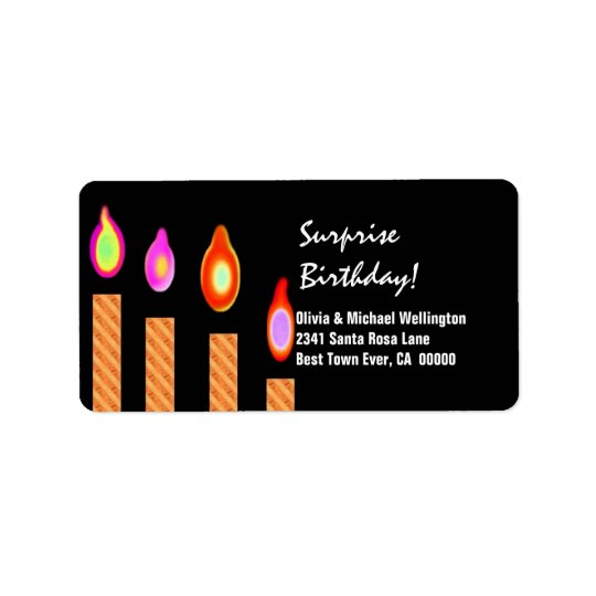 Gold Striped Candles Surprise Birthday Label