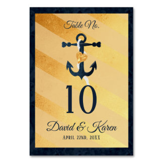 Gold striped foil- anchor wedding table numbers