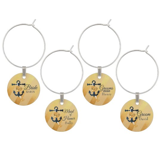 Gold striped foil anchor wedding wine charms