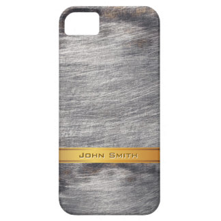 Gold Striped Grunge Steel Metal Custom Name iPhone 5 Case