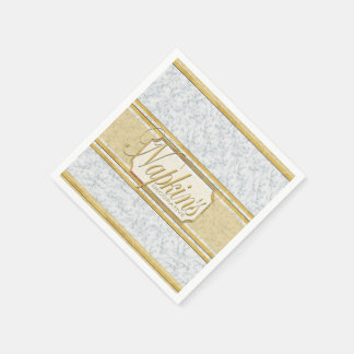 Gold Striped Marble Paper Napkin