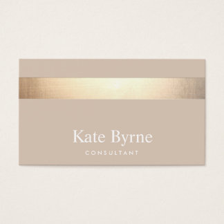 Gold Striped Modern Stylish Beige Tan Business Card