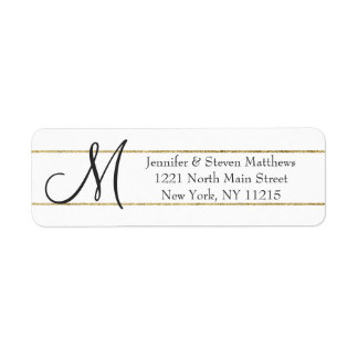 Gold Striped Monogram Initials and Name Labels