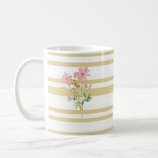 Gold Striped Mug with Watercolor Flower