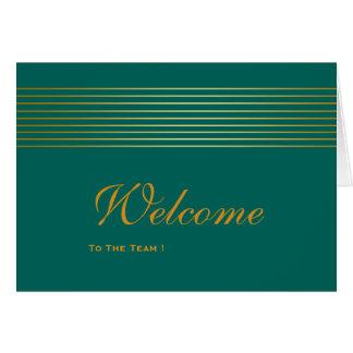 Gold Striped Sleek Green Welcome Card