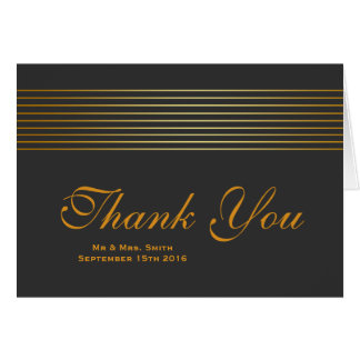 Gold Striped Sleek Thank You Card