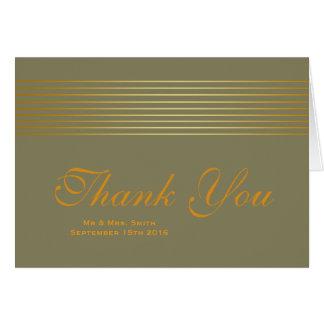 Gold Striped Sleek Thank You Greeting Card
