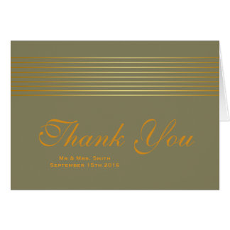 Gold Striped Sleek Thank You Greeting Card