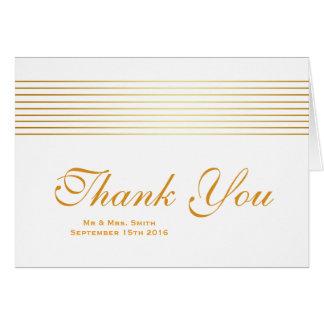 Gold Striped Sleek White Thank You Card