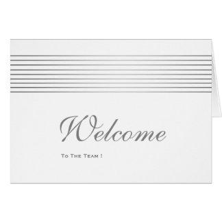 Gold Striped Sleek White Welcome Card