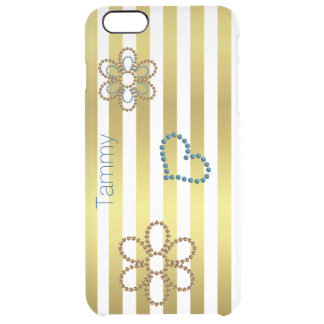 Gold Stripes and Flowers Clear iPhone 6 Plus Case