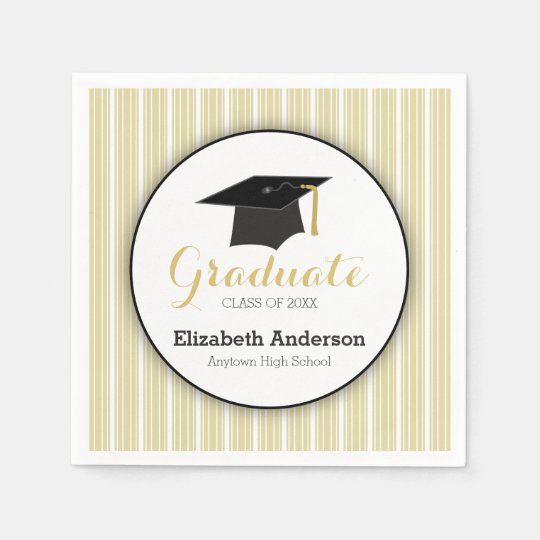 Gold Stripes and Hat Personalized Graduation Disposable Napkins