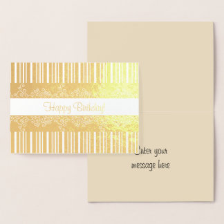Gold Stripes and Lacy Curls Foil Card