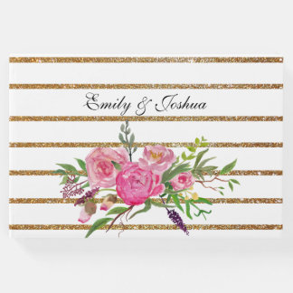 Gold Stripes and Pink Flowers Wedding Guest Book