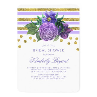 Gold Stripes and Purple Flowers Chic Bridal Shower Card