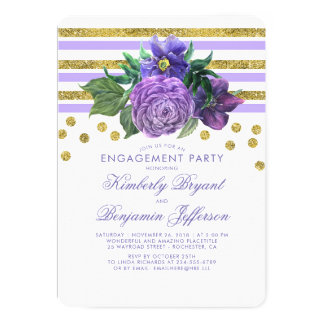 Gold Stripes and Purple Flowers Engagement Party Card