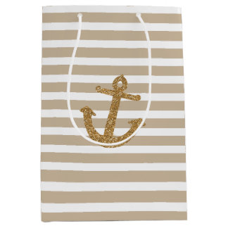 Gold Stripes Faux Glitter Anchor Medium Gift Bag