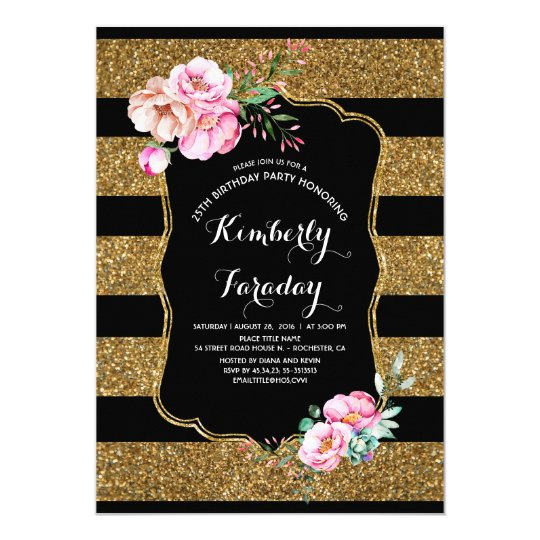 Gold Stripes Floral Vintage Birthday Party Card