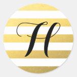 Gold Stripes Pattern with Monogram Round Stickers