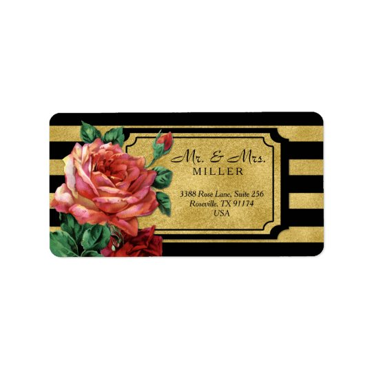 Gold Stripes Rose Flower by Jo Sunshine Label
